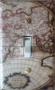 Light Switch Cover / Lighting / Old World Map / Travel / Wall Decor / Beige Switch Plate Covers, Light Switch Plates, Light Switch Covers, Travel Wall Decor, World Map Travel, Map Crafts, Old World Maps, Map Globe, My Room