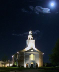 Photo of our church at night in the moonlight. Remnant Fellowship in Brentwood, TN.