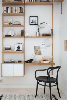 Great Home Office Shelving Design And Decor Ideas Home Office Space, Home Office Design, Home Office Decor, Office Shelving, Office Shelf, Shelving Ideas, Ikea Office, Svalnäs Ikea, Ikea Malm