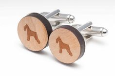 Schnauzer Wood Cufflinks