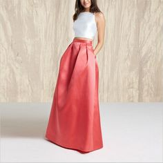 Bardouilles... Fashion Red Elegant Long Taffeta Skirt   Floor Length Skirt For Women Custom Made