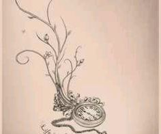 Pocket watch tattoo design-my quote would be from Alice in Wonderland Tattoo Tod, 1 Tattoo, Tatoo Art, Piercing Tattoo, Tattoo Quotes, Ankle Tattoo, Tatto Love, Love Tattoos, Beautiful Tattoos