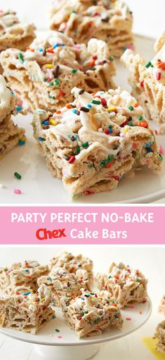 Don& wait till your next birthday, enjoy No-Bake Birthday Cake Bars any time you& craving something special. Made with frosting, sprinkles and Rice Chex cereal for a crunchy, sweet treat that will delight any day of the year. Cake Bars, Dessert Bars, Cereal Treats, Rice Krispie Treats, Chex Cereal, Cereal Bars, No Bake Desserts, Just Desserts, Dessert Recipes