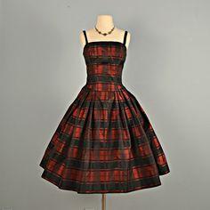 1950's Taffeta Plaid Dress.