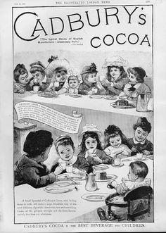 Cadbury's Cocoa Antique Advertisment Best For Children