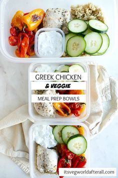 Easy Greek Chicken and Veggie Meal Prep Bowls. Ready in 30 minutes! | itsavegworldafterall.com