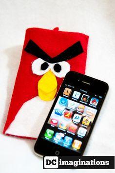 Angry Bird felt phone case $18 on Etsy