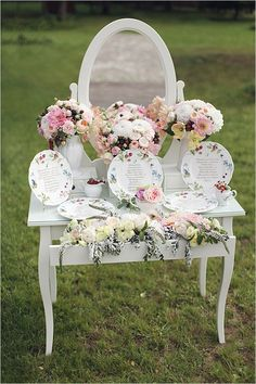 Precious like an english tea party- escort card table with painted plates