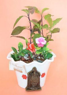 Holy Krishna Tulsi - Kapoor Tulsi (Live Plant) with Beautiful Bala Ji Pot and Decorative Materials Laxmi ATM CARD Buy Plants, Live Plants, Tulasi Plant, Krishna Tulsi, Buy Gifts Online, Indian Art Paintings, Top Gifts, Corporate Gifts, Artificial Flowers