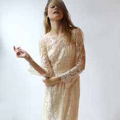 Peach lace and silk gown