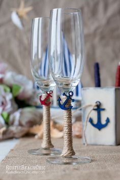 Nautical Wedding glasses with anchor, bow, rope + Personalized Ahoy! Fill these flutes with champagne and toast to your big day! Personalized Champagne Flutes, Wedding Champagne Flutes, Wedding Glasses, Champagne Glasses, Nautical Bridal Showers, Nautical Wedding, Nautical Theme, Rustic Wedding, Wedding Ideas