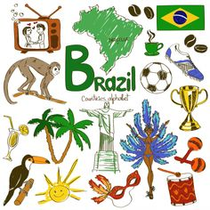 I Love Brasil Illustration Fashion Wedding Decor Vinyl Waterproof Wall Sticker Vintage Wallpaper Wall Decal Baby Rooms Decor