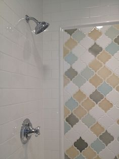 Exotic Pattern Arabesque Tile For Home Interior Design: Amazing Shower Tile With Arabesque Tile For Wall Mount Tile Also White Subway Tile And Shower Head Shower Niche, Tub Shower Combo, Bathroom Renos, Bathroom Ideas, Spa Bathrooms, Bathroom Stuff, Hall Bathroom, Master Bathroom, White Wood Kitchens