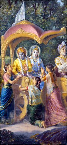 Gopis beseeching Lord Krishna not to go to Mathura leaving them.: