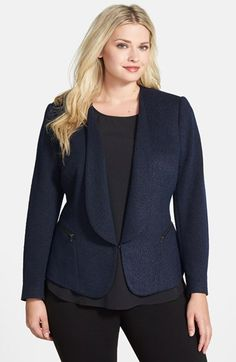 Sejour Tweed Jacquard Jacket (Plus Size) at  Nordstrom is a great choice for Tina L. with full sleeves and an easy fit this jacket is easy to wear while still looking sharp.    Looking for plus size women's fashion? Visit http://www.plvshstyle.com/