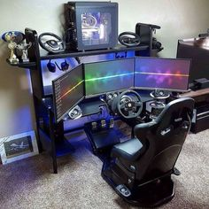 best design ideas for Game Room. best images of Game Room. photos of the indoor games room Best Gaming Setup, Gamer Setup, Gaming Room Setup, Gaming Desk, Gaming Rooms, Simple Computer Desk, Computer Setup, Computer Shelf, Tour Pc