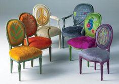 Reinventando los clásico; sillones isabelinos tapizados con imaginación. Combina colores, telas, texturas y todo el mundo hablará de ellos!!