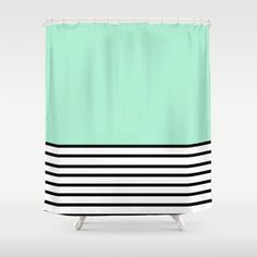 Fresh Mint Black and White stripes pattern Shower Curtain