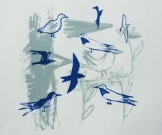 Hand pulled blue and grey bird print £40.00