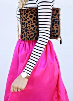 Pink, Stripes + Leopard - fashionista. Mix and match prints.