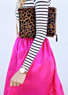 stripes + animal print + color pop
