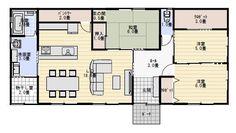 家族の人数の変動に対応できる平屋の間取り図 | 平屋間取り