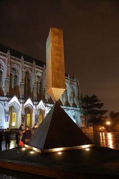 Broken Obelisk and Suzallo Library. Red Square. University of Washington.