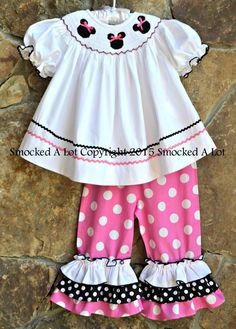 Smocked A Lot Girls Minnie Mouse Pink White Polka Dot Ruffled Pants Outfit Dress #SmockedALot #DressyEverydayHolidayPageantWedding