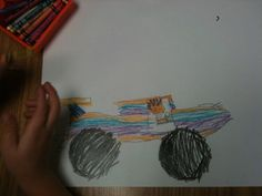 Wheel pictures. Trace circles (lids, jars, etc.) and add details after looking at examples of limos, tractors, etc.