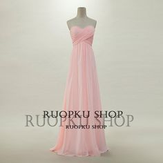 Custom ALine Sweetheart FloorLength Laceup Chiffon Pink by RUOPKU, $84.99