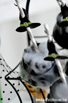 Witches Ball Halloween Party via Kara's Party Ideas Ideas! Printable witch hat straw toppers available in Kara's Party Ideas Shop! www.KarasPartyIde...
