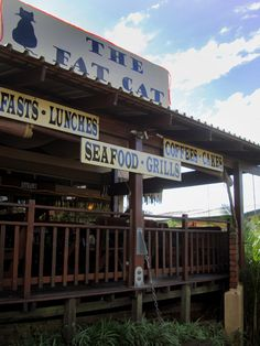 The Fat Cat Cafe - Mtunzini (Zululand, South Africa) Fat Cat Cafe, Grilled Seafood, Cat Signs, Eating Fast, Fat Cats, South Africa, African, Spaces, Live