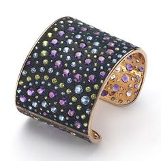 Nuit Bracelet in rose gold with diamonds, amethyst, peridot and light blue topaz by Mattioli Gioielli, Italy.
