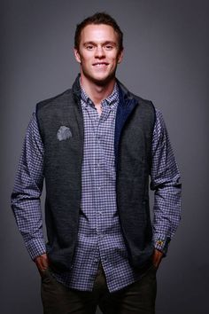 Jonathan is wearing the Johnnie-O Clover Button Down and the Johnnie-O Front Coast Vest. Save off these items today only (Dec. Can't make it to the store? Place an order by phone: Blackhawks Store, Blackhawks Hockey, Hockey Teams, Chicago Blackhawks, Hockey Players, Ice Hockey, Today Holiday, Captain My Captain, Jonathan Toews