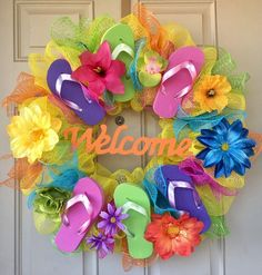 "Flip-flop Wreath with 6 Colorful Flip-flops, Wooden ""Welcome"" sign, Flowers 