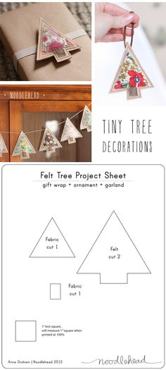 tiny tree decorations - tutorial (with free Christmas tree template)