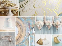 powder blue and gold wedding - Day 1 in the 12 Days of Christmas wedding inspiration board series!