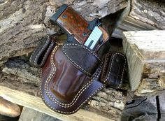 Nightingale Leather Sig Sauer P938 Raptor IWB Holster~Brown Cowhide ~ Full Grain Leather Lining ~ Natural White Stitching~ Nicotine Elephant Trim & Belt Loops