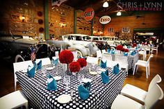 Cutest rehearsal dinner - great colors black, white, aqua & red