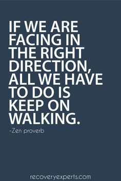 Motivational Quote: If we are facing in the right direction, all we have to do is keep on walking. – Zen proverb  Follow: https://www.pinterest.com/recoveryexpert