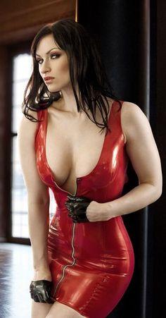 tight red latex dress