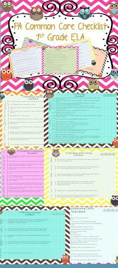 PA Common Core Kindergarten checklist, $