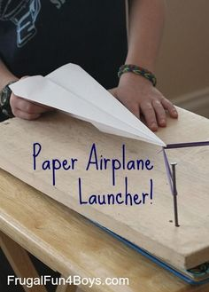 100 Engineering Projects For Kids, like this great Paper Airplane Launcher! 100 Engineering Projects For Kids, like this great Paper Airplane Launcher! Steam Activities, Science Activities, Science Experiments, Activities For Kids, Crafts For Kids, Kids Diy, Stem Projects For Kids, Airplane Activities, Space Activities