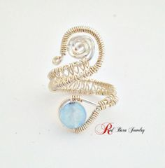 Adjustable Brazilian Aquamarine Wire Wrap Ring by redbarnbysheila, $23.00