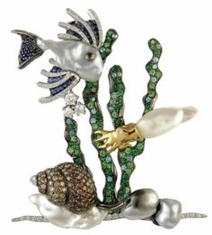 "Charming brooch, 18K white gold, keshi pearls, blue sapphires, tourmalines ""Paraíba"", tsavorite, white and brown diamonds"