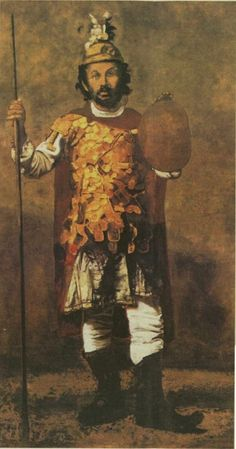 Painting by Giannis Tsarouchis from a photograph of Greek artist Theophilos (1870 - 1934) dressed as Alexander the Great.