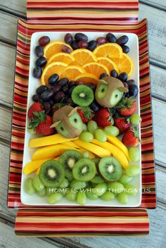 Fruit platter with kiwi mice