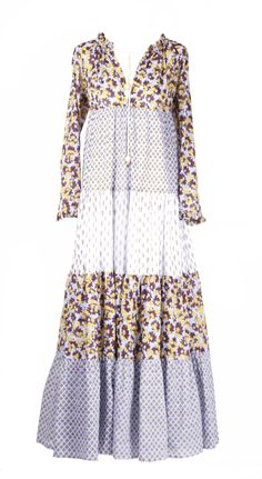 Yvonne Sporre, Light cotton Summer Bohemian maxi dress Hand-made prints by Yvonne Sporre S/S 2018 Cotton Lights, Lavender, Bohemian, Dresses With Sleeves, Long Sleeve, Women, Fashion, Moda, Gowns With Sleeves