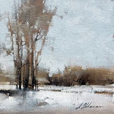 Frosted Ground by Joseph Alleman, Oil, 7 x 7 Watercolor Landscape, Abstract Landscape, Landscape Paintings, Abstract Oil, Oil Paintings, Watercolor Artists, Indian Paintings, Abstract Paintings, Watercolor Painting
