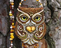 RESERVED Fabulous amethyst owl. Beaded necklace with от ElenNoel
